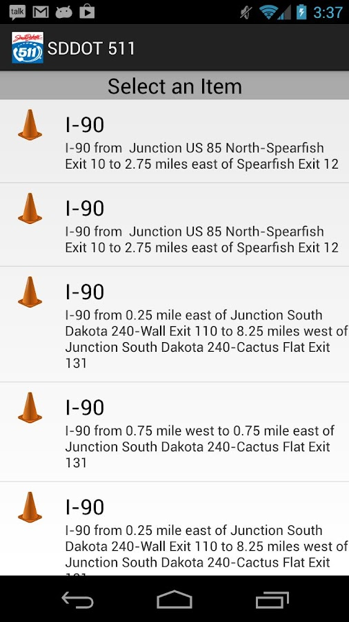 SDDOT 511- screenshot