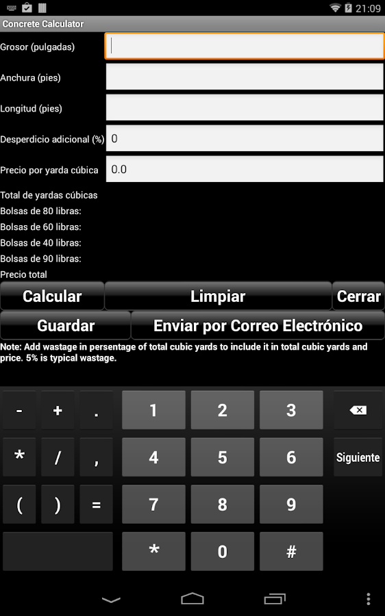 Calculador Manual: captura de pantalla