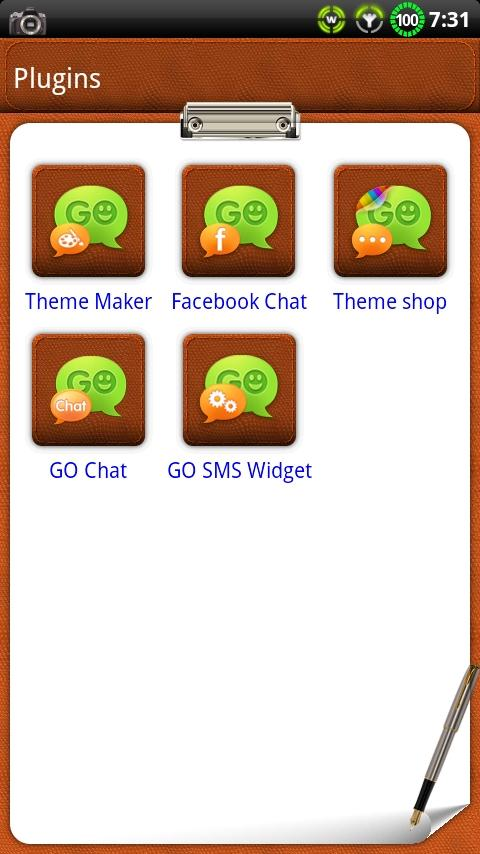 Leather NotePad GO SMS Theme- screenshot