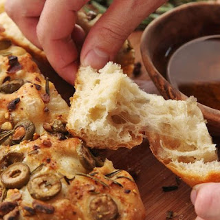 Easy No-Knead Olive-Rosemary Focaccia With Pistachios