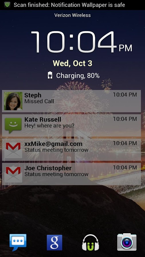 Lock Screen Notifications- screenshot