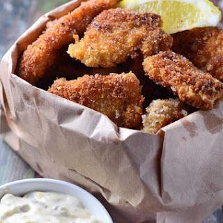 Crispy Fish Nuggets with Cajun Tartar Sauce