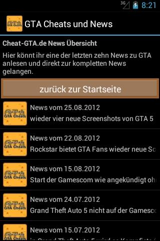 GTA Cheats und News - screenshot