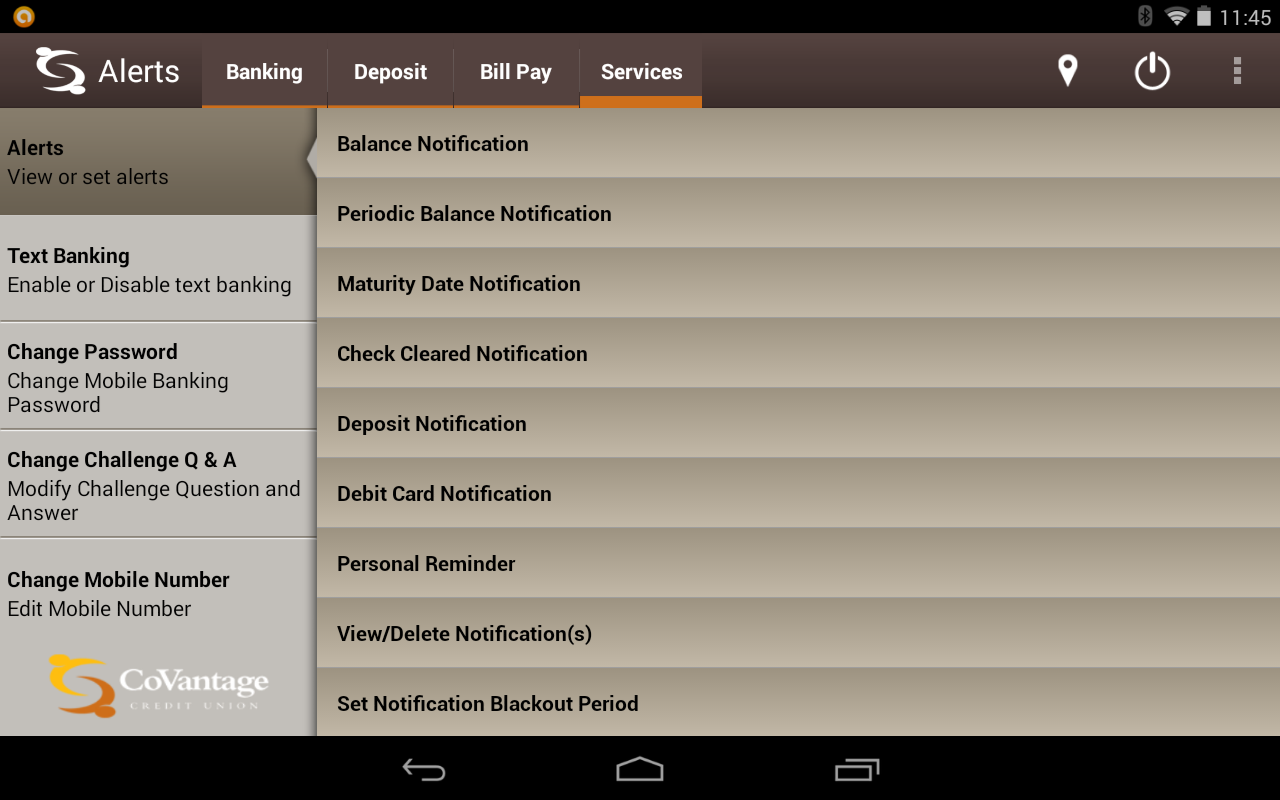 CoVantage Mobile Banking- screenshot
