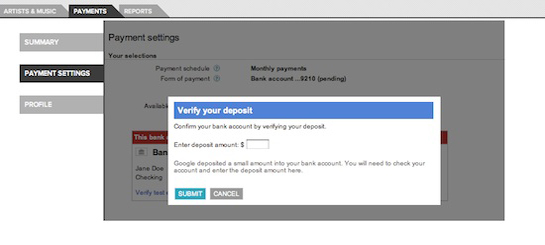 Add test deposit amount