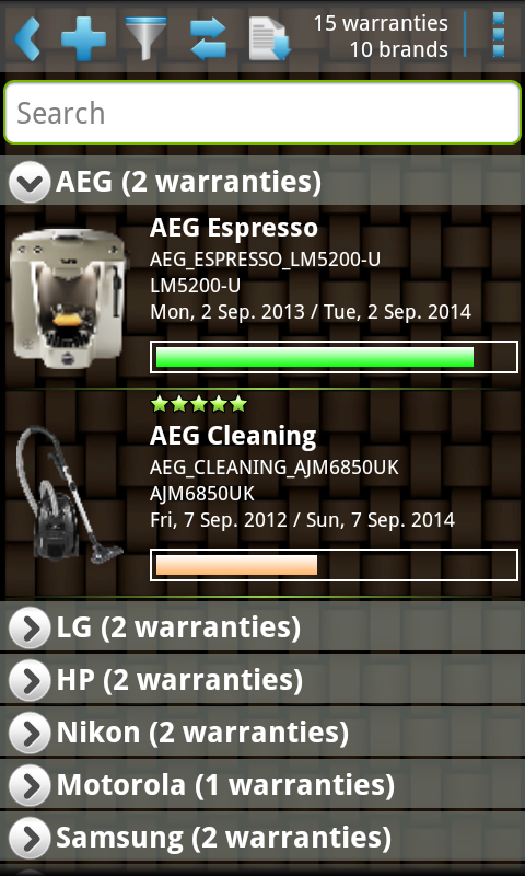 My Warranties Lite - screenshot