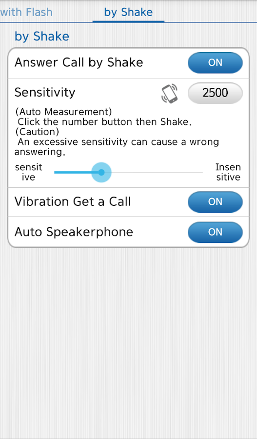 Vibrate then Ring with Flash- screenshot