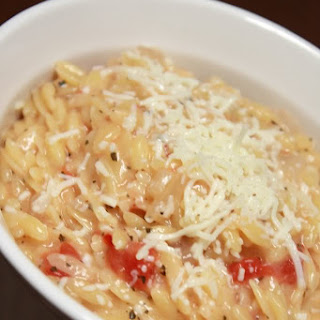Orzo Risotto with Tomato, Mozzarella, and Basil
