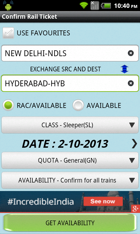 Indian Rail Confirm Ticket - screenshot