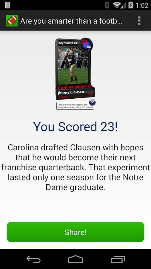 Football Wonderlic Test- screenshot