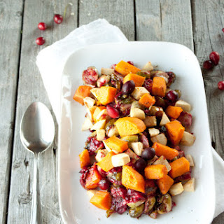 Sweet Potato, Brussels Sprout Salad with Cranberry Sauce.