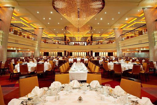 Carnival-Breeze-Blush-Dining-Room - Enjoy dinners in the lavish Blush Dining Room during your cruise on Carnival Breeze.