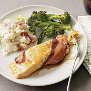 Bacon-Wrapped Salmon with Broccoli and Mashed Potatoes.
