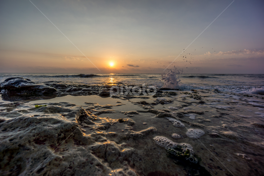 Splashing sunrise by Tudor Migia - Landscapes Sunsets & Sunrises ( clouds, black sea, sky, splashing, waves, beach, sunrise, rocks, sun,  )