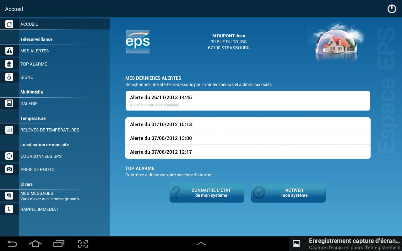 EPS Télésurveillance - screenshot