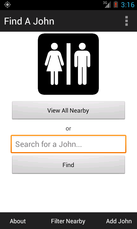 Bathroom John find a john: bathroom finder - android apps on google play