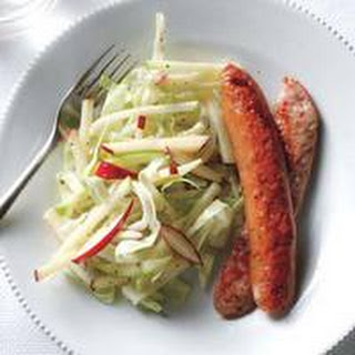 Chicken Sausages with Cabbage-Apple Slaw.