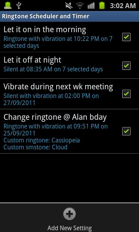 Ringtone Scheduler Plus- screenshot