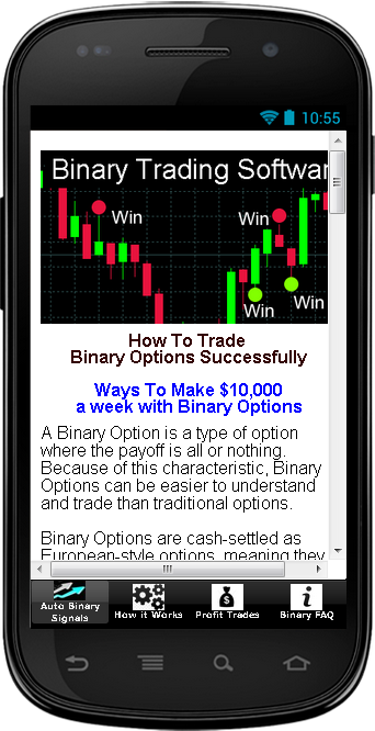 Binary trading demo app
