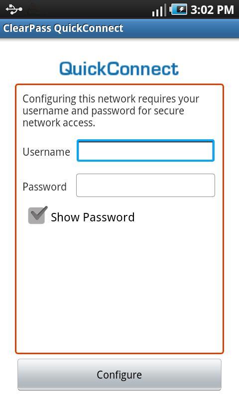 ClearPass QuickConnect- screenshot