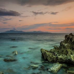 Looking out to Rhum by Ben Leng - Landscapes Waterscapes ( limestone, isle of rhum, le, sunset, d7000, elgol, sea, long exposure, rock, nikon, dusk, isle of skye )