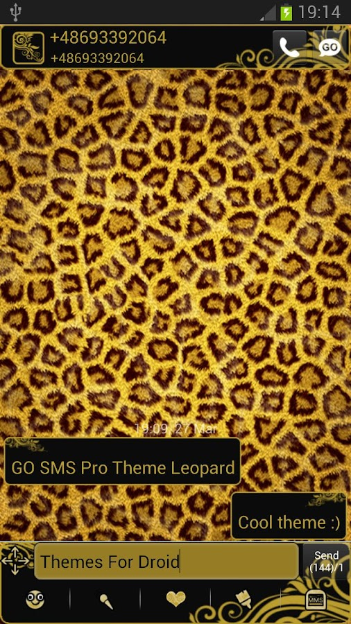 GO SMS Pro Theme Leopard - screenshot