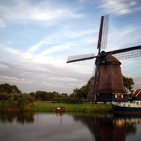 Historic windmill Alkmaar,NL by Mike Bing - Buildings & Architecture Public & Historical ( water, alkmaar, sky, hoornse vaart, sunset, holland, windmill, netherlands )