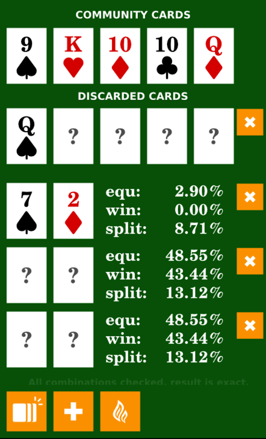 3 card poker odds of winning calculator fractions