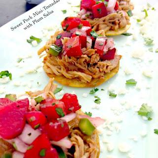 Sweet Pork Mini Tostadas with Plum Salsa