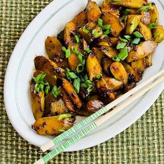 Spicy Stir-Fried Broccoli Stems.
