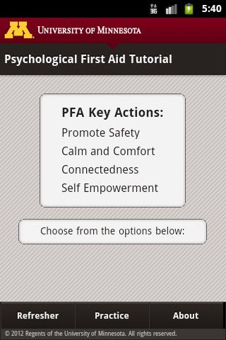 Psychological First Aid (PFA) - screenshot