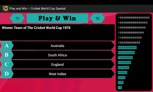 Cricket World Cup : Play Win