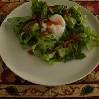 Green Salad With Poached Egg, Duck Jerky Crumbles & Duck Crackling.