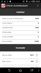 LOfavør Studentbudsjett- screenshot thumbnail