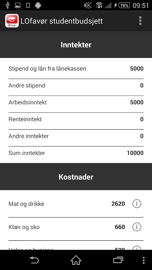 LOfavør Studentbudsjett- screenshot
