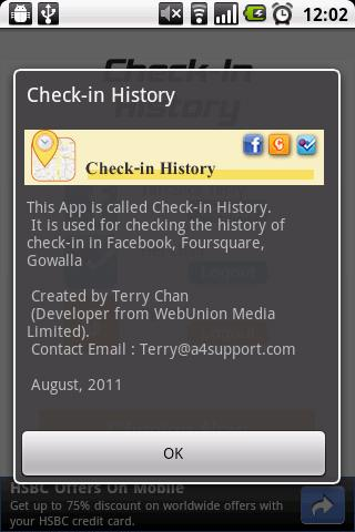 Check-in History - screenshot