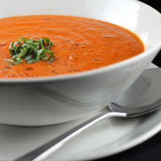 Spicy Roasted Red Pepper and Tomato Soup.