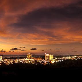 Miri City Twilight by Naising Bega - City,  Street & Park  Skylines