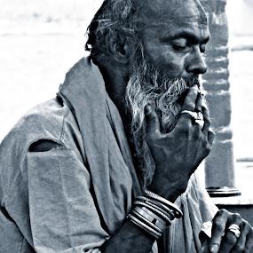 smoking kills by Suman Mukherjee - People Portraits of Men ( old, black and white, people, smoke, portrait )