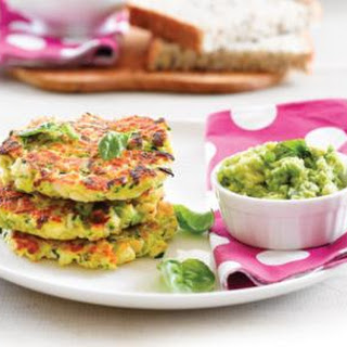 Chicken And Zucchini Fritters With Avo Dip.