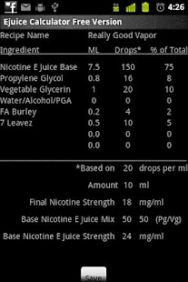 E Juice Calculator - screenshot thumbnail