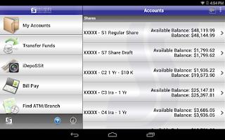 Screenshot of SSFCU Tablet Mobile Banking