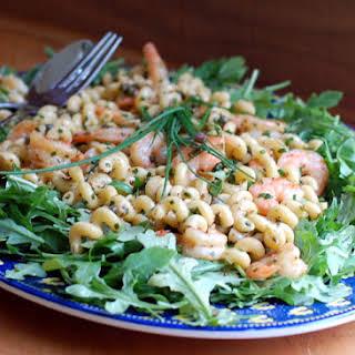Shrimp Pasta Salad with Arugula.