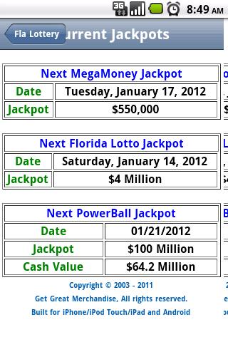 mega money numbers florida