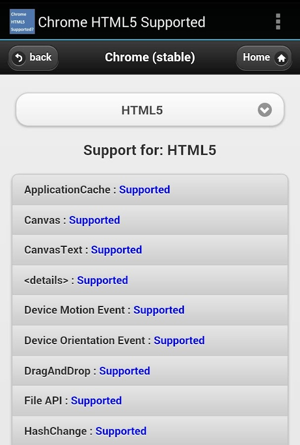 HTML5 Supported for Chrome?- screenshot