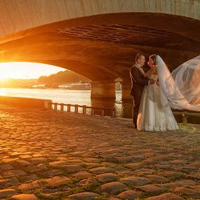 Sunrise in Paris by Marius Igas - Wedding Bride & Groom ( paris, wedding, bridge, sunrise, bride, groom )