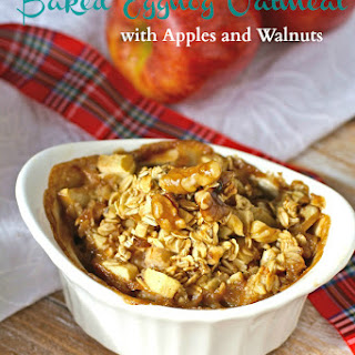 Baked Eggnog Oatmeal with Apples and Walnuts