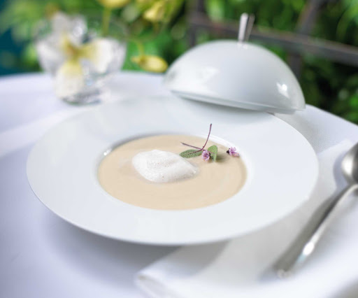 The sunchoke soup at 150 Central Park aboard Allure of the Seas. The restaurant is overseen by overseen by Michael Schwartz, a James Beard Award-winning chef with a commitment to sustainable and seasonal food sourcing.