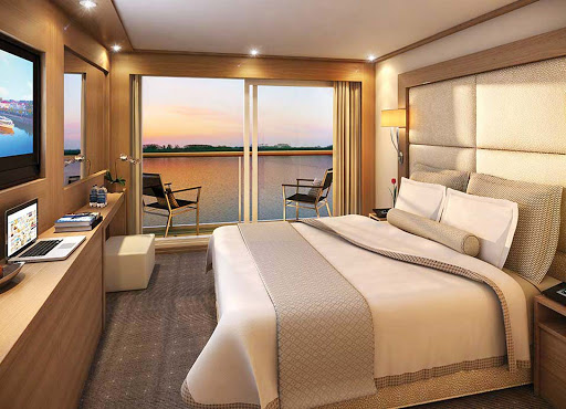 Viking-Longship-Veranda-Suite - Unwind after a day of sightseeing in the upscale Veranda Suite during your Viking River Cruises travels through Europe's waterways.