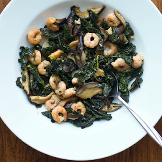 Shrimp with Kale and Shiitakes.